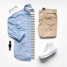 done blue denim Chinos Men Outfit, Look 2018, Outfit Grid, China, Denim Men, Mens Fashion, Fashion Tips, Blue Denim, Street Wear