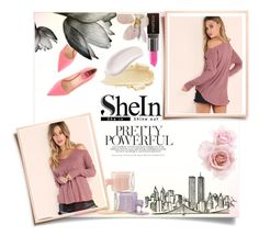 """""""Pink waffle knit cold shoulder T-shirt (SheIn)"""" by ellma94 ❤ liked on Polyvore featuring Fendi, Smashbox, Omorovicza and shein"""