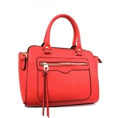Double Handle Designer Inspired Satchel Bag with Gold Tone Hardware – Handbag-Addict.com