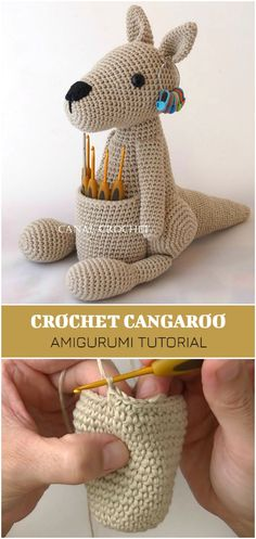 Kangaroo Amigurumi Crochet Tutorial - Crochet and Knitting Patterns - Амигуруми , Crochet Diy, Crochet Patterns Amigurumi, Crochet Gifts, Amigurumi Doll, Crochet Dolls, Knitting Patterns, Dog Crochet, Crochet Ideas, Crochet Unicorn