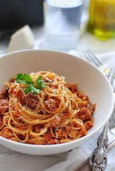 Angel hair with a tomato meat sauce