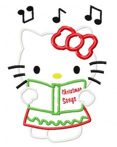 Hello Kitty Christmas Caroler Applique by EmbroideringQueen, $2.49