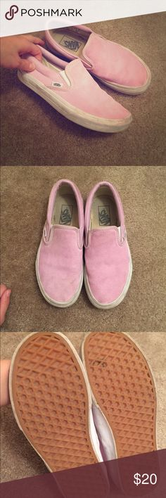 Pink Suede Vans for J. Crew Pink suede! Size 7 women's. These are a limited edition Vans slip on that was bought at J. Crew. They have not been worn much but could still use a good cleaning on the white outer soles. The suede looks great! These are very good condition from a non smoking home. J. Crew Shoes Flats & Loafers