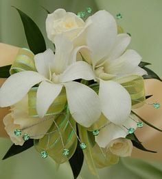 White Sweetheart Rose and White Orchid Corsage - Green Gold Corsage, Prom Corsage And Boutonniere, Wrist Corsage, Boutonnieres, Orchid Corsages, Homecoming Corsage, Dendrobium Orchids, White Orchids, Colorful Flowers