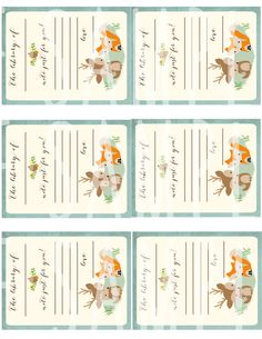 WOODLAND Baby Shower Book Instead of a Card by littlebirdieprints