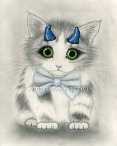Little Blue Horns, Big Eye Kitten Cat Drawing, Prints & Gift Items featuring this image are available on my website. © Carrie Hawks, Tigerpixie Art Studio, Fantasy Cat Art http://Tigerpixie.com