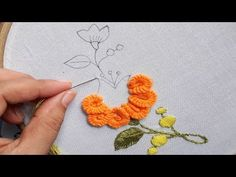 Hand Embroidery, Very Easy Flower Embroidery Tutorial, Simple Flower Design Basic Embroidery Stitches, Hand Embroidery Videos, Hand Embroidery Flowers, Japanese Embroidery, Hand Embroidery Designs, Embroidered Flowers, Beaded Embroidery, Embroidery Patterns, String Art Patterns