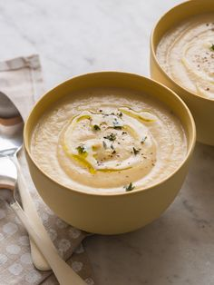 Roasted Cauliflower and Parsnip Soup - with a lot of depth of flavor from the simple roasted vegetables and hint of cumin and paprika.