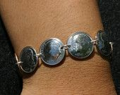 Coin Jewelry Dime Bracelet Sterling Silver Links Funky Modern Boho Chic Hippie Folk Unique Unisex Gifts