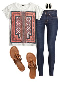 """Let's run away"" by km213 ❤ liked on Polyvore featuring H&M, J.Crew, Tory Burch and Kendra Scott"