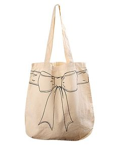 Printed bow tote  could make this with a black sharpie !