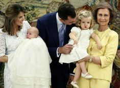 In 2007, Spain's Princess Letizia held her daughter Princess Sofia at her baptism. She was joined by Crown Prince Felipe and Queen Sofia of Spain, who kept Princess Leonor close.