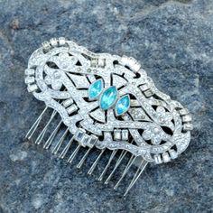 Art Deco vintage rhinestone hair comb with aqua stone marquies