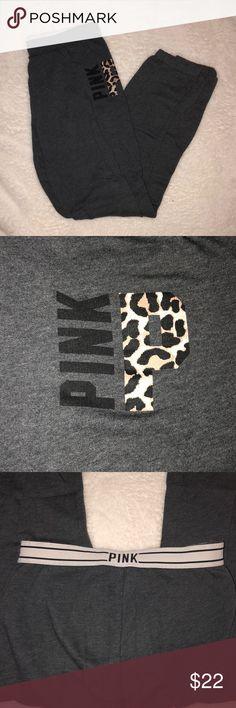 "XS Gray & Leopard Print VS PINK Sweats Gray with Leopard Print ""P"" Size XS. Victoria's Secret PINK Sweats PINK Victoria's Secret Pants Track Pants & Joggers"