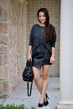 www.streetstylecity.blogspot.com Fashion inspired by the people in the street ootd look outfit sexy high heels legs woman girl babe wear wearing leather skirt miniskirt
