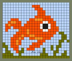 theme animaux aquatiques Crochet Pixel, Bobble Stitch Crochet, Cross Stitch Designs, Cross Stitch Patterns, Quilt Patterns, Melty Bead Patterns, Beading Patterns, Broderie Simple, Modele Pixel Art