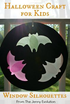 Flying Bat Window Silhouettes - Halloween Craft for Kids   The Jenny Evolution