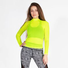 Throw on our neon yellow mesh long sleeve workout top on a cold fall morning run, or use it to layer during winter fitness. Our lightweight workout mesh long sleeve is the perfect sheer cover up for a sports bra or bikini top while on vacation. Mesh Long Sleeve, Track And Field, Spandex Material, Dance Outfits, Neon Yellow, Workout Tops, Snug Fit, Bikini Tops, Perfect Fit