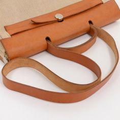 Hermes Beige Canvas Leather Herbag MM 2 In 1 Shoulder Bag  Ha093