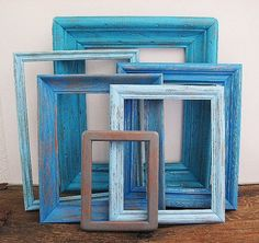 Beach Decor Picture Frame Set Of 6 Open/Empty Rustic Beach Wall Art