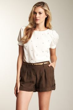 Willow & Clay  Star Stud Puff Sleeve Top
