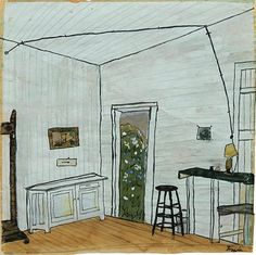 "Elizabeth Bishop. Interior with and Extension Cord. ""It makes sense that a person who didn't feel securely attached to himself would have been drawn to art that took such an interest in connections and their matter-of-factness."""