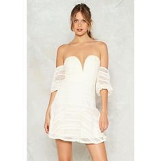Nasty Gal Girl After My Own Sweetheart Mini Dress ($32) ❤ liked on Polyvore featuring dresses, beige, short sweetheart dress, white day dress, white sweetheart neckline dress, short dresses and white mini dress