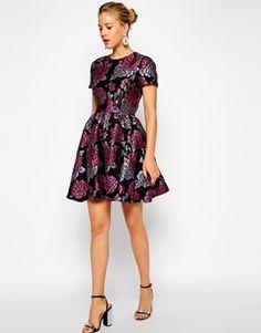Enlarge ASOS PETITE Structured Dolly Skater Dress in Floral Jacquard