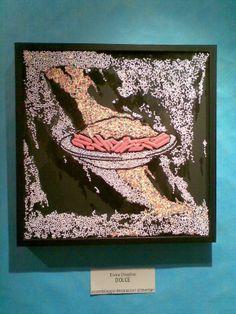 """Titolo:""""Dolce(mandala pop)"""".Assemblaggio decorazioni alimentari su vetro.cm 50x50. Created by Elvira Chiodino."""