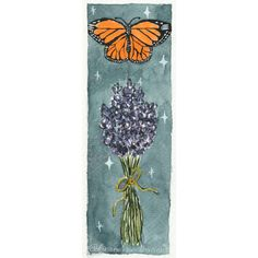 I dream of the magic of starlight, the comforting scent of last summer's herbs bundled and drying, and the ancestors floating all around ✨🌿🦋 kivamariecreations.com #makemindfulart #bookmark #gouacheillustration #gouachepainting #illustration #illustrator #artistsofinstagram #artistsoninstagram #lavender #monarchbutterfly #folkart