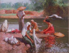 Fernando Amorsolo (1892-1972, Filipino) - Lavanderas at the Riverbank