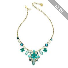 kate spade new york Gold-Tone Blue & White Stone Flower Statement Necklace