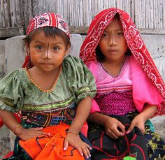 Girls of San Blas Islands, Panama. They are already learning how to sew molas.