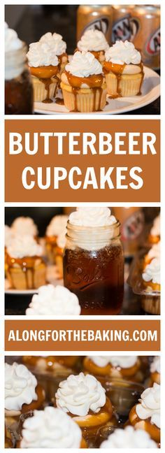 Inspired by the Wizarding World of Harry Potter, these vanilla cream soda  cupcakes have been filled and frosted with a rich Butterbeer frosting,  drizzled with a butterscotch ganache, and topped with a homemade whip!