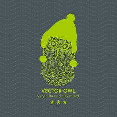 Print with cute and clever owl in scandinavian hat. vector art illustration