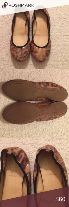 J. Crew Leopard Ballet Flats size 6 J. Crew leopard print patent ballet flats with leather interior . Size 6. Made in Italy . Good condition. Very comfortable! J. Crew Shoes Flats & Loafers
