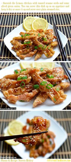 Lemon Chicken (Chinese Style) by Picture the Recipe. A step-by-step picture recipe for Chinese style lemon chicken. A dish with crispy chicken strips, tossed in a tangy sweet lemon sauce, that can be served as an appetizer or main. Wok Recipes, Air Fryer Recipes, Asian Recipes, Chicken Recipes, Dinner Recipes, Cooking Recipes, Recipies, Cheap Recipes, Chicken Meals