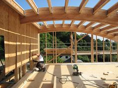 Flushing, Cornwall - Glulam beam curved roof structure.