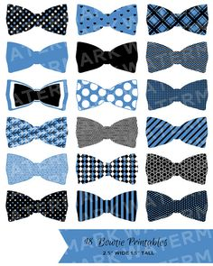 18 BLUE Bowties / PRINTABLE Party Decor - Hues Studio Printables on Etsy, $3.50