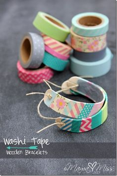 "You're not going to believe what they used to make these. This is going in my ""must try"" list. DIY: Washi Tape Wooden Bracelets #washitape #diy #bracelet"