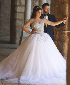 Wedding Dresses Luxury Crystal Bridal Gowns Beads Sheer Long Sleeves Wedding Dress Crystals Backless Floor Length Tulle Bd019 Wedding Dresses With Color White Ball Gowns From Dhhonton, $211.06| Dhgate.Com
