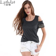 Summer Knitted Womens Tops Dark Gray Rivet Shirt Female Blouses Clothing Off Shoulder Crochet Beading Top Tees Blusa