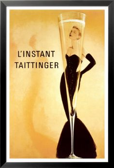 Vintage Champagne ad to dress up party room refrigerator.