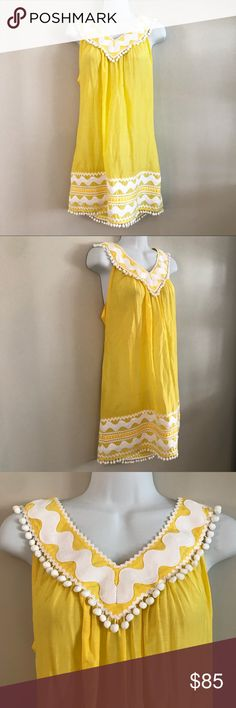 Milky Cabana yellow beach cover up Great condition. Has white ric rac And pom pom Detail Milly Swim Coverups