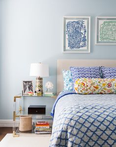 June 2013 Issue - A tiered bedside table in a pattern-filled bedroom