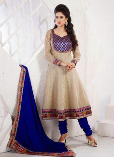 Cream Cotton Plus Size Salwar Kameez With Matching Dupatta