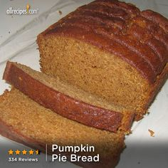 "Pumpkin Pie Bread | ""This quick bread recipe tastes like pumpkin pie. Tastes best when served the next day."" - Tanja Miller http://allrecipes.com/recipe/pumpkin-pie-bread/detail.aspx?lnkid=7171"