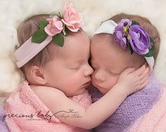 Twin baby girls close up flowers beautiful newborn twins Precious baby photography Angela Forker unique Fort Wayne New Haven Indiana