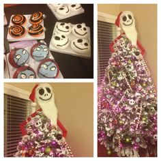 My crafted Nightmare Before Christmas tree! Halloween might be over but made it work into Christmas! Nightmare Before Christmas Tattoo, Nightmare Before Christmas Decorations, Christmas Tree Themes, Holiday Tree, Christmas Tree Toppers, Christmas Ideas, Christmas Salon, Halloween Christmas, Disney Christmas