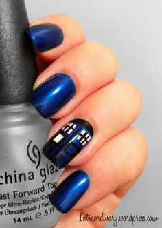 Dr. Who Nails nail art by Katie